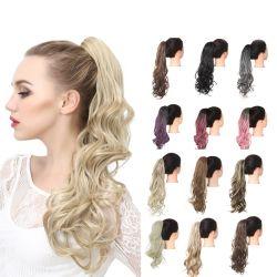 الشعر تمديدات الشعر من الألياف اليابانية المقاومة للحرارة قطعة ويغ أومبر لون اصطناعي ذيل حصان للنساء البيض