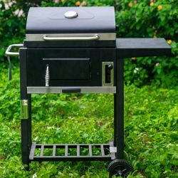 Churrasqueira fumante carvão multifuncional com termómetro para fumar cozinha exterior Camping