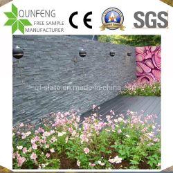 China-natürlicher schwarzer gestapelter Steinumhüllung-Außenwand-Schiefer