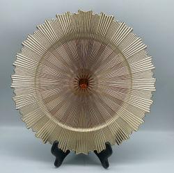 La alta calidad de vajilla de bodas de oro y plata de decoración de coral las placas de cargador de plástico