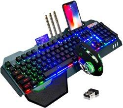 Ordenador Teclado y ratón RGB LED Inalambrico Juegos Juego de teclado y ratón inalámbricos pilas recargables