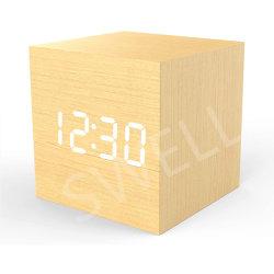 Amazon Wood Cube Voice Control LED Holz Digital Wecker Für Kinder mit einstellbarer Helligkeit