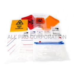 Autoclave de amostra de resíduos de laboratório de perigo biológico com fecho descartável para medicina Medicamento Comprimido medicamentos Transporte reclável sacos de plástico LDPE de LDPE