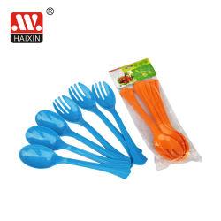 مجموعة أدوات مائدة بلاستيكية مع شوكة بقطيتين وملعقة بقطعتَي طولٍ لمدة سلطة أدوات المائدة الداخلية