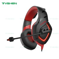 High-End Gaming Headset, 1 * 3,5 Audio-Port, rote LED-Beleuchtung, geeignet für PS4/Xbox One Slim/Switch/Laptop/Desktop-PC/Mobiltelefon