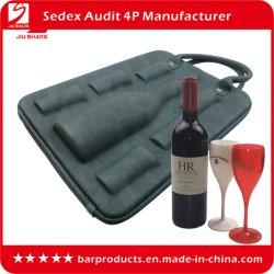 6びん極めて薄いPUの革ワインの買物袋、シャンペンのびんの箱