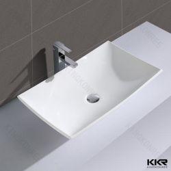prix d'usine déchirure de l'eau de forme ronde Surface solide du socle de la conception d'un lavabo en marbre de résine toilettes Lavabo salle de bain évier en pierre