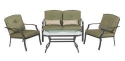 Patio-Lagerung der Hinterhof-Klassiker-Zypresse-4-Piece eingestellt mit Sofa-Stühlen, Loveseat und Glaskaffeetische