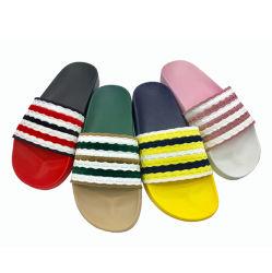 패션 여성용 PVC Wool Knitting 슬리퍼 레이디 컬러 스트라이프드 인기 따뜻한 슬라이드 여성용 니트 패브릭 슈즈