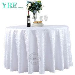 Table ronde Yrf Polyester blanc mariage blanc tissu capot table