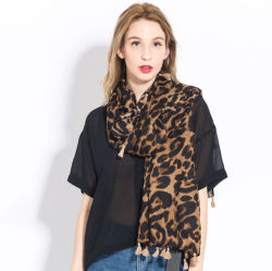女性の方法ヒョウパターン動物プリントショールのスカーフの覆い、季節の柔らかい軽量のショール