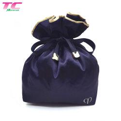 Il regalo di lusso del raso del blu marino di doppi strati di Morecredit insacca il sacchetto impaccante del sacchetto della piccola del Drawstring stampato abitudine dei monili biancheria di bellezza