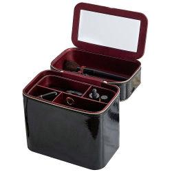 L'organizzatore cosmetico di trucco nero trasporta la cassa con lo specchio, scompartimenti cosmetici di memoria dei cassetti smontabili ideali per la corsa portatile