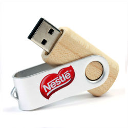محرك أقراص محمول Swivel USB سعة 1 جيجابايت سعة 2 جيجابايت وسعة 4 جيجابايت وسعة 8 جيجابايت محرك أقراص USB محمول خشبي دوار سعة 32 جيجابايت مزود بشعار