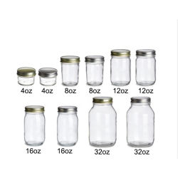 Regelmäßiger Gelee-Marmeladen-Nahrungsmittelspeicher-Glasmaurer-Glas des Mund-4oz 8oz 12oz 16oz 32oz mit Kappen und Bändern