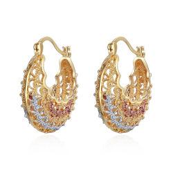 ファッション衣装ジュエリーダイヤモンド 18K ゴールドカラーフープラウンドエリング