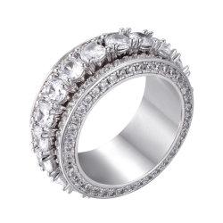 CZ 둥근 테니스 남자와 여자 Esg14234를 위한 반지에 의하여 시뮬레이트하는 다이아몬드 만고 교전 결혼 반지