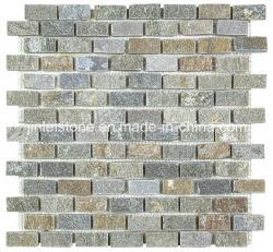 Mattonelle di mosaico arrugginite naturali dell'ardesia per la parete della priorità bassa