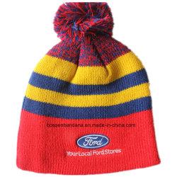 Logotipo personalizado bordados lã acrílica de esqui no Inverno Esportes de malha quente Beanie Hat