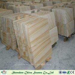 Material de decoración de las piedras naturales de madera Panel de revestimiento de fachada de la pared de piedra arenisca amarilla