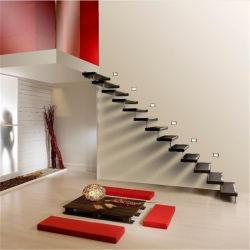 高品質の内部の現代デザイン純木の踏面の浮遊階段