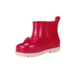 Venda a quente Bonitinha Bowknot bebê PVC chuva de sapatos, botas de Bebé padrão Cat com falsos elásticos largos