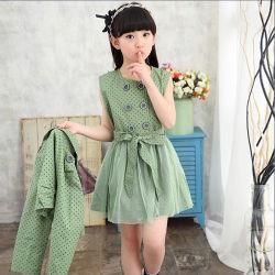 Qualitäts-neues Form-Spitze-Gewebe und Baumwolle, die Sleeveless Kind-Kleidung-Baby-Kind-Partei-Blumen-Mädchen-Kleider zeichnet