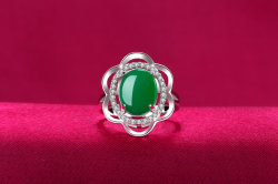 Fine High-Grade Ice Species Jade Pith Chalcedony Agate Ring