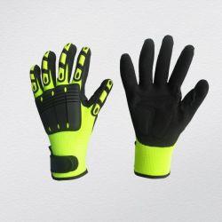 Nitrilo Areia Hi-Viz Mecânico Palm TPR luvas de trabalho-5054
