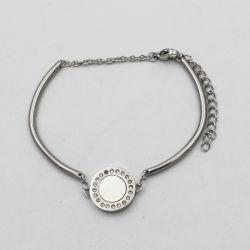 Prateado Bracelete com pendente de rotação e cristal checo em torno de