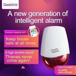 Geeklink Alarma seguridad alarma sensor inteligente de luz sonido de timbre de la sirena de la luz roja intermitente APP Seguimiento de la seguridad inalámbrica