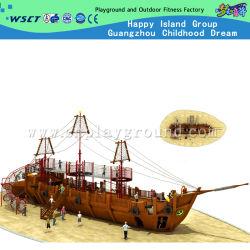 遊園地のスライドおよび大きいサイズのクライマー(HF-5401)が付いている木の海賊船の運動場