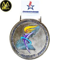 Métal 3D de haute qualité de l'argent trophée Médaille Récompenses sportives de lieu