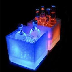 Forme carrée 3.5L lumière LED en plastique à double paroi jusqu'seau à glace pour la bière vin Refroidisseur Refroidisseur