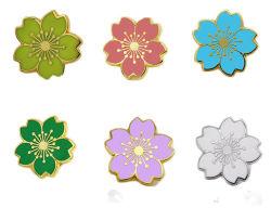 Logo personnalisé bon marché Fashion fleur Promotion Mou Dur émail Gold Silver Flag en laiton broche Médaille de la sécurité insigne métallique Épinglette pour cadeau promotionnel
