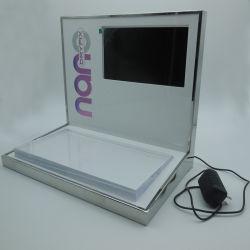 Pequena mesa de madeira MDF Visor cosméticos com base acrílica e levou a tela de vídeo