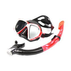 スキューバスノーケリングマスクのシリコーンストラップのフリーダイビングの緩和されたガラスのSpearfishing Freedivingマスクのスノーケルセット