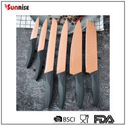 ブロック付き 6PCS ノンスティックキッチンナイフの調理器具セット (KSE161)