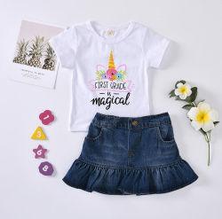 قميص طباعة من القطن للفتيات ملابس أطفال من قطعتين من الدنيم