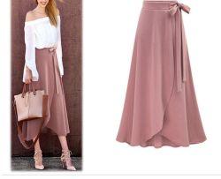 卸し売り設計方法高いウエスト非対称の長い女性スカート