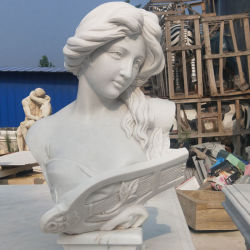 El tamaño de la vida hembra hermosa dama Busto escultura estatua de piedra de mármol