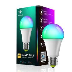 مصباح LED A60 للمصباح الأصلي يضيء بتقنية Wi-Fi مصباح LED لتغيير لون RGB LED E27 WiFi Smart LED مصباح الإضاءة الداخلية