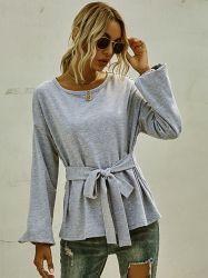100% coton à manches longues femmes Casual O cou t shirts Femmes blouse Blouse gris Bow liée pour les femmes T Shirt