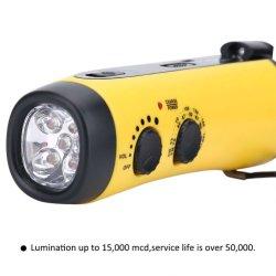 Portátil de radio de manivela de emergencia multifunción LED Linterna de camping al aire libre FM radio receptor de radio digital