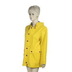 Fashion Design novo PU Amarelo Revestimento Chuva Adulto jaqueta de chuva Custom Bike chuva fina