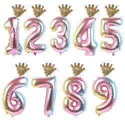 2개의 3개의 4개의 5개의 6 살 아이 소년 소녀 크라운 축 생일 풍선 베비 샤워 장식 공급이 1set 30inch 수 포일에 의하여 1개의 팽창한다