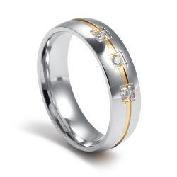 Gema Stetting especial de tres de piedra de cara y el oro Anillo de la ranura para la boda