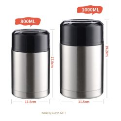 800ml 1000ml de boca larga térmica de aço inoxidável de parede dupla alimentares isolados Jar Preservação Recipiente de alimentos com pega