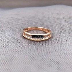 925 Sterling Silver Anneau lumineux avec du noir bijoux en pierres de zircone cubique