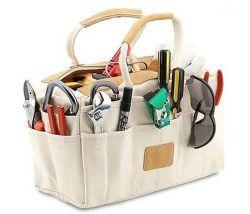 Multi-Pocket portátil com pega de kit para ferramenta de algodão saco com guarnição de couro